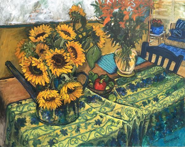 Large Oil Painting, Yellow Tablecloth and Sunflowers Still Life by Patricia Clements