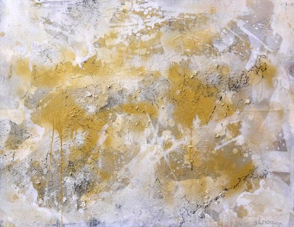 Interstellar Gold Rush | large abstract painting | white gold silver grey by Daniela Schweinsberg