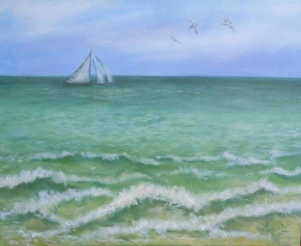 On Stormy Seas - Seascape with Sailing ships by Jane Moore