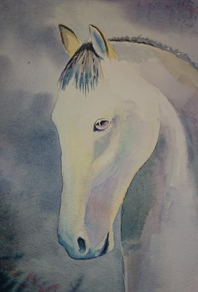 Racing horse in the mist Winsor & Newton Professional  Artist watercolour paper A4 by Elena Haines