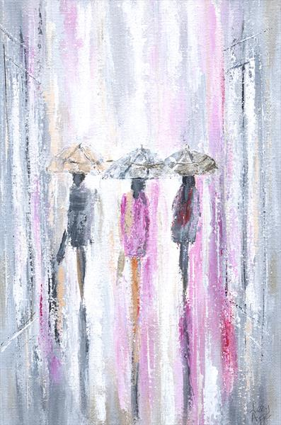 Summer City Cool Pinks - Original acrylic painting on canvas. 11.75x7.75inches by Lizzy Agger