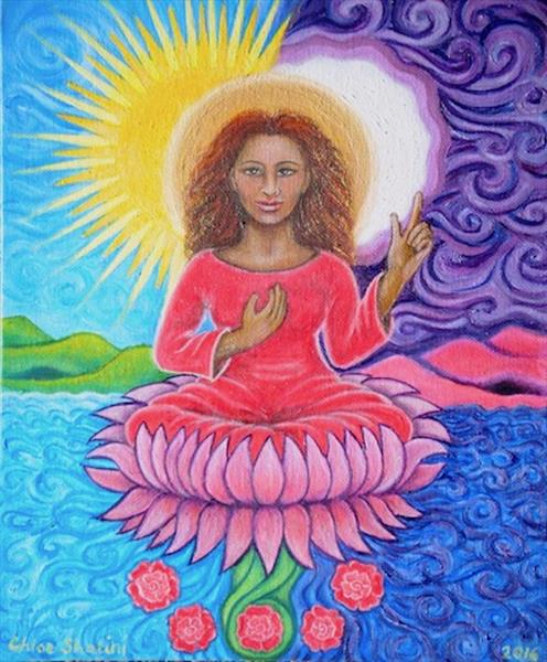 Goddess painting, Heaven is through the Heart by Chloe  Shalini