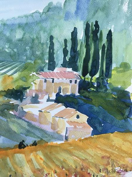 Tuscan vineyards by Peter Blake