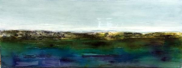 Abstract Landscape In Emerald Green And Purple With Resin finish by Maxine Martin