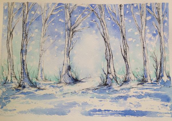 Snowing in the Woods by Tina Hiles