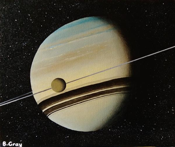 SATURN WITH TITAN ACRYLIC PAINTING 10'' X 12'' by Barry John Gray