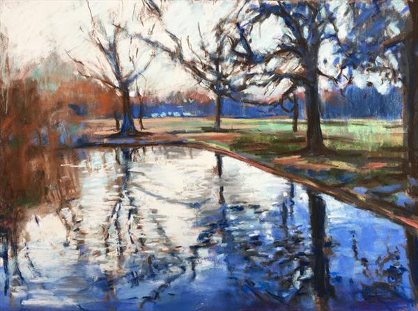 Winter pond, Wandsworth Common by Louise Gillard