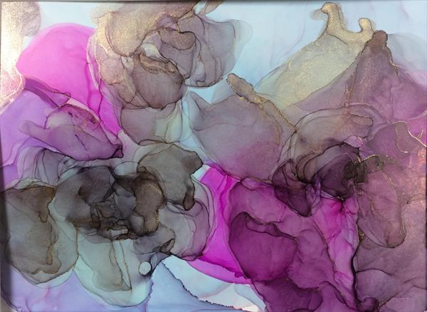 Black Rose Abstract floral  ink painting  by Maxine Martin
