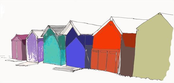 Beach Huts Budleigh Salterton by Jo Mortimer