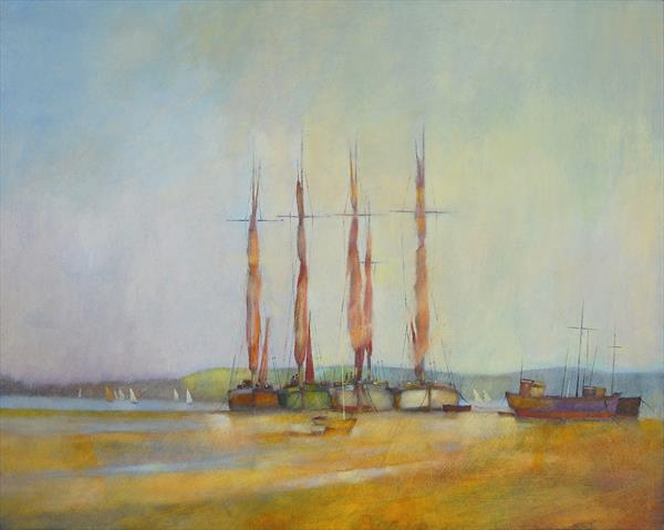 Barges on a Suffolk estuary by Ian Garstka