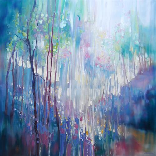 Spring Waits - a large woodland abstract with bluebells, lakes and trees by Gill Bustamante