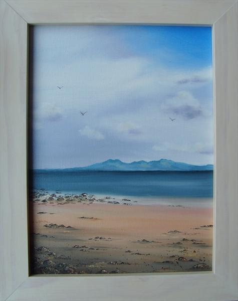 Arran From Lunderston Bay (With Frame) by Kerri Nathwani