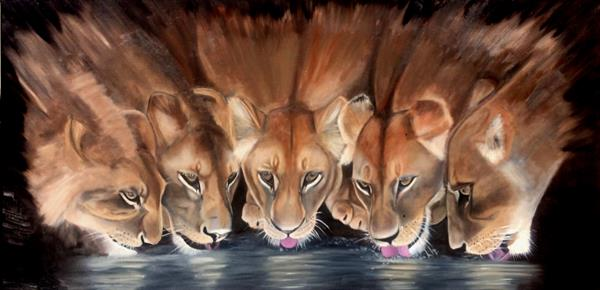Lions at the watering place 39x20 in
