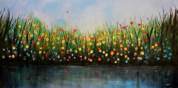 XXL Riverstorm #1 - Supersized original floral landscape by Cecilia Frigati