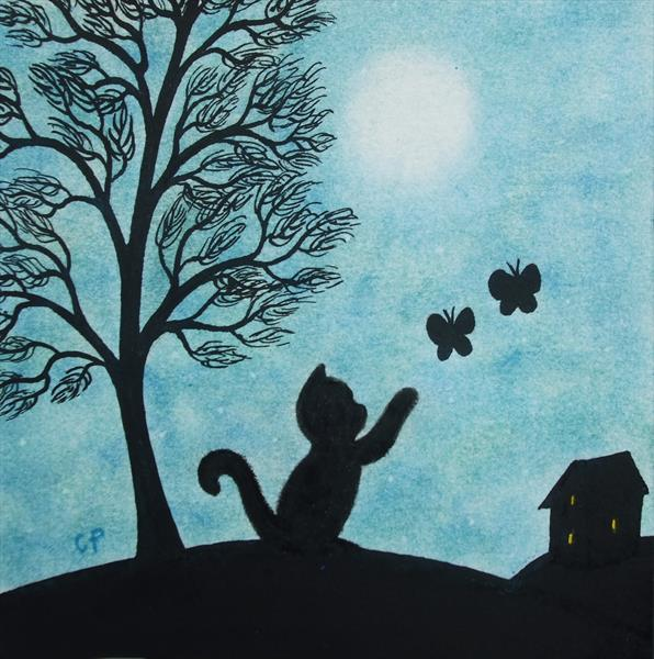 Cat and Butterflies Silhouette (Framed) by Claudine Peronne