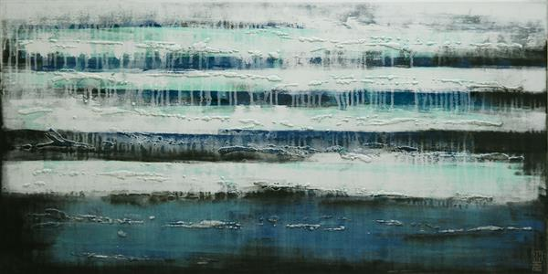 Abstract Painting - Life on Antartica - C3 by Ronald Hunter