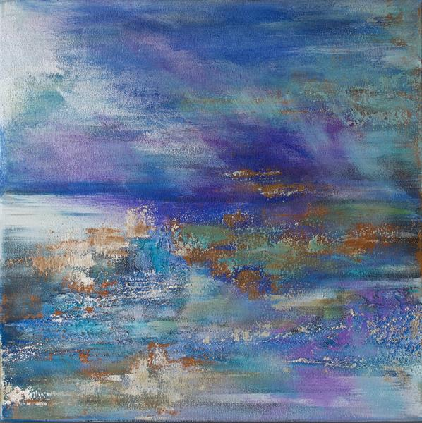 Abstract Silver Seascape by Viktoria Ganhao