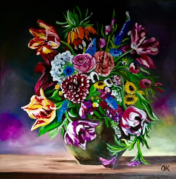 Bouquet of flowers.  Tulips, roses, dahlias, hydrangeas, carnations, lily in a vase by Olga  Koval