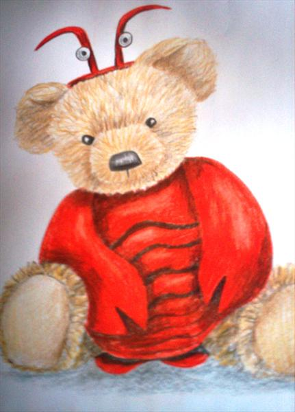 Lobster Bear Coloured Pencil Sketch by Natalie Browne
