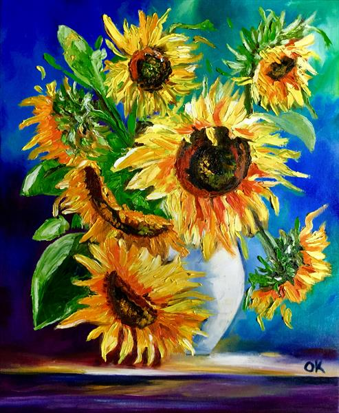 Bouquet of sunflowers still life inspired by Vincent Van Gogh by Olga  Koval