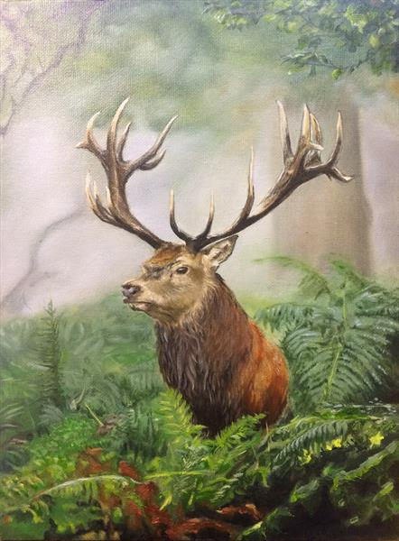 Custodian, Red Stag oil painting by Colin Mowat