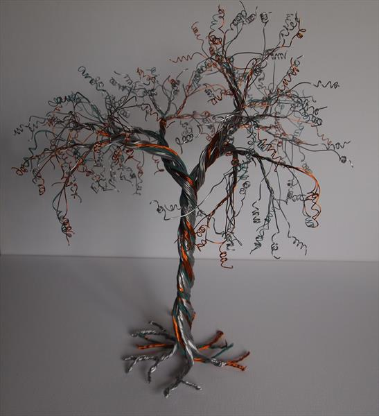 Silver, Honey and turquoise wire tree sculpture  by Steph Morgan