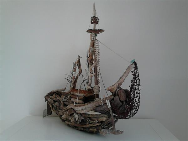 Driftwood Sailing Boat by Karon-anne Sharp