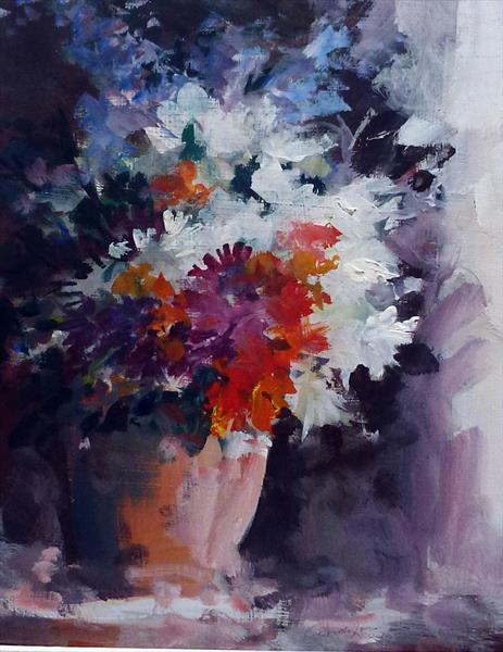 Window light and flowers by Arnold Lowrey